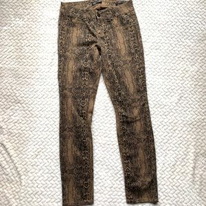 7 For All Mankind Snake Print Skinny Jeans Size 4